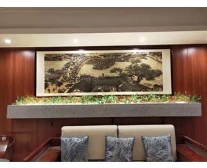 广州越秀区 大幅2.8米长 清明上河图十字绣装裱