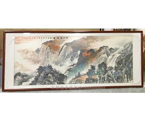 广州番禺区 大幅国画山水画装裱 花梨木画框