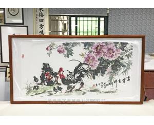 广州荔湾区 写意公鸡 富贵吉祥 国画装裱画框