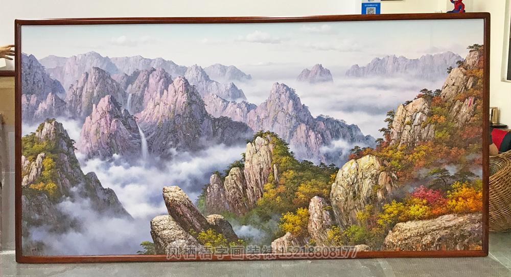 广州萝岗区 大幅3.2米长 朝鲜油画绷画装裱