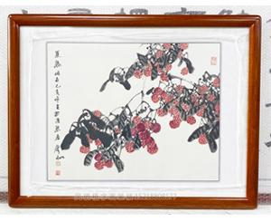 著名画家刘声雨 写意国画 装裱画框