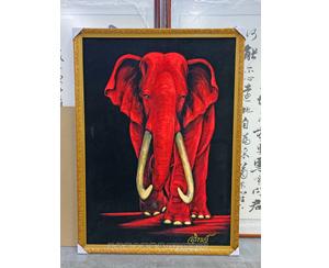 广州天河区 油画装裱 大象 金色画框装裱
